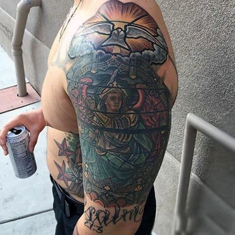 Half Sleeve Male Christian Stained Glass Tattoo