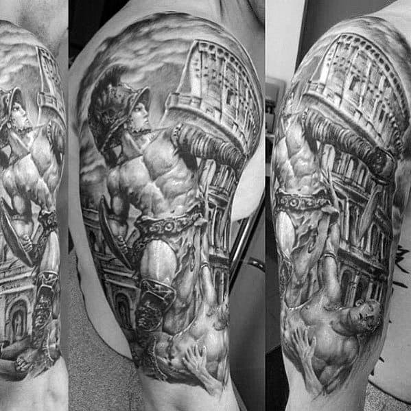 Half Sleeve Male Cool Roman Statue Tattoo Ideas