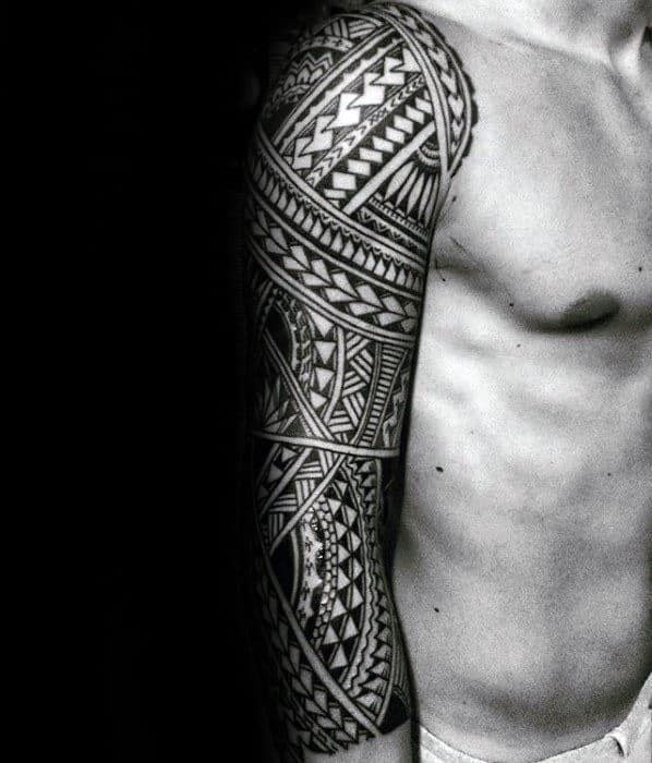 Half Sleeve Male Detailed Sick Polynesian Tribal Tattoo
