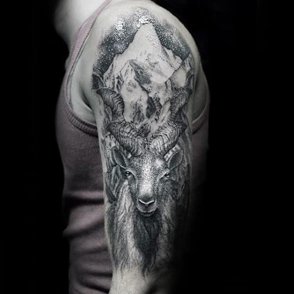 Half Sleeve Male Goat Mountain Shaded Tattoo Designs