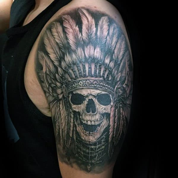 Half Sleeve Male Indian Skull Tattoo Inspiration