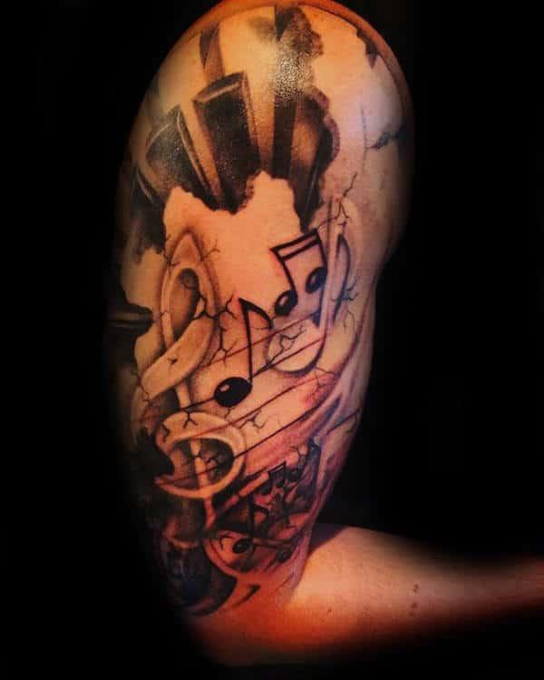 Half Sleeve Male Music Note Piano Keys Tattoo Designs