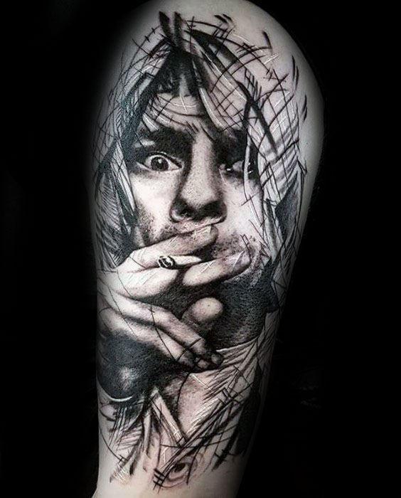 Half Sleeve Male Nirvana Tattoo