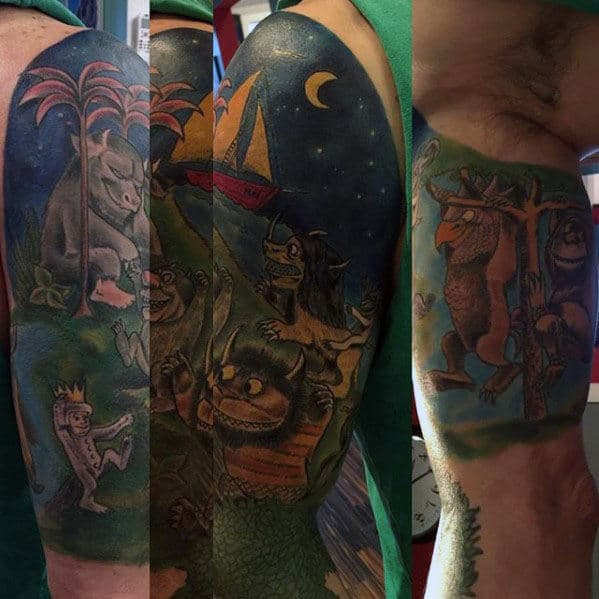 Half Sleeve Male Painted Where The Wild Things Are Tattoos