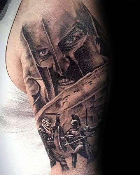 Half Sleeve Male Spear Spartan Themed Tattoos