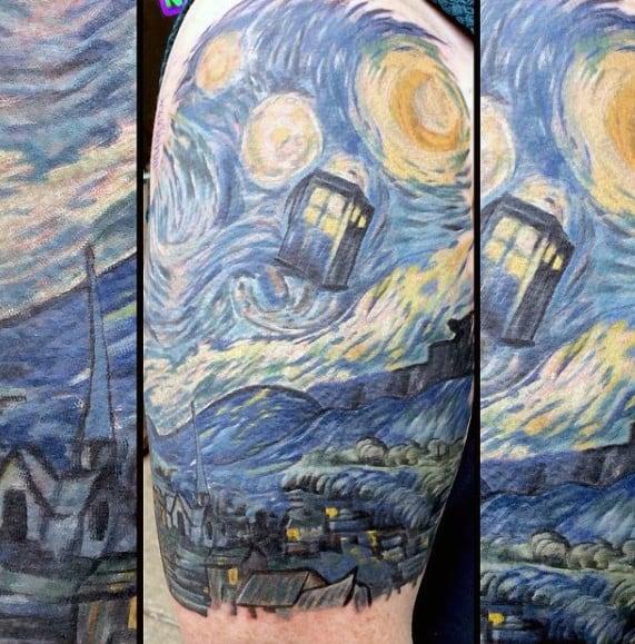 Half Sleeve Male Vincent Van Gogh Painting Tattoo