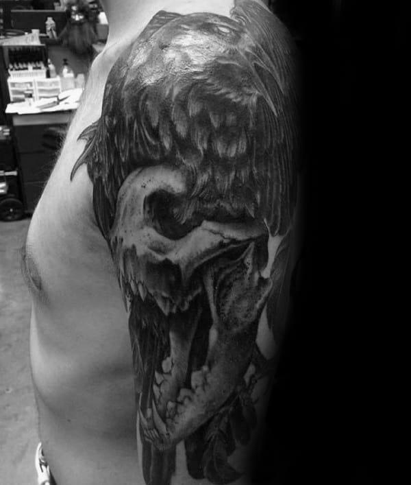 Half Sleeve Male Wolf Skull And Black Crow Tattoos