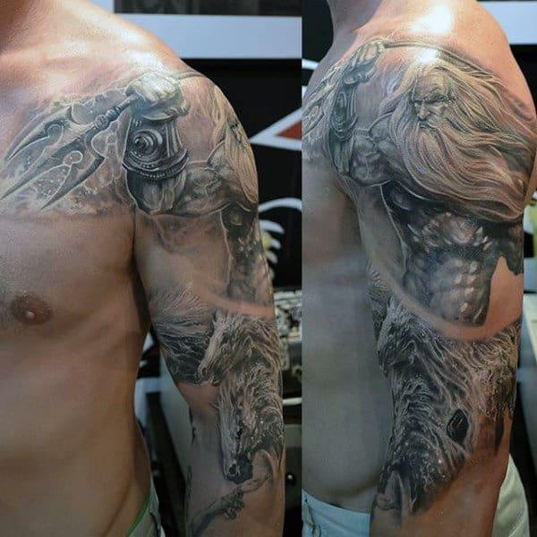 Half Sleeve Man With Tattoo Of Poseidon Weapon