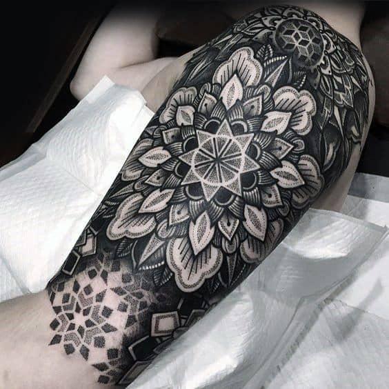 Half Sleeve Mandala Guys Tattoo Ideas