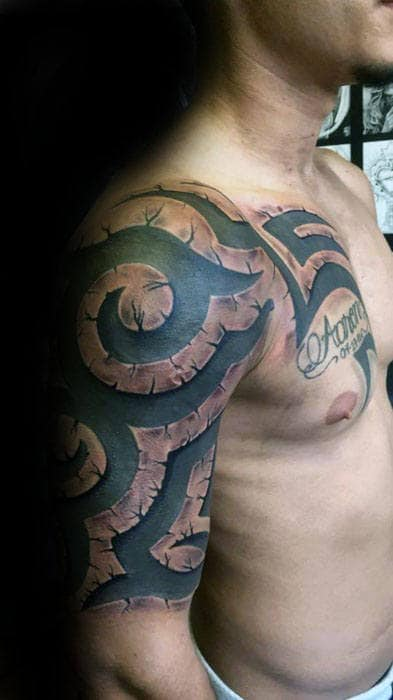 Half Sleeve Manly 3d Tribal Tattoo Inspiration For Males