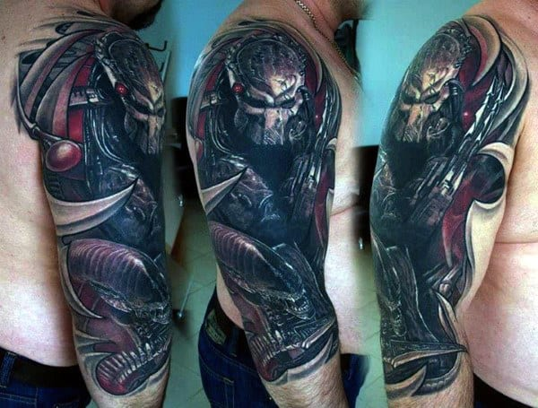 Half Sleeve Manly Guys Alien Vs Predator Tattoos
