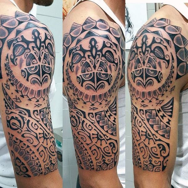 Half Sleeve Maori Culture Inspired Male Tattoo Design