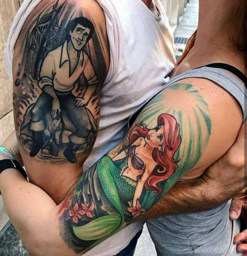 Half Sleeve Married Couples Tattoo Designs