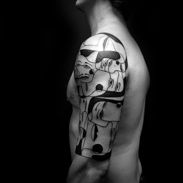 Half Sleeve Masculine Cubism Tattoos For Men