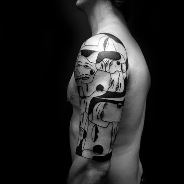 Half Sleeve Masculine Cubism Tattoos For Men