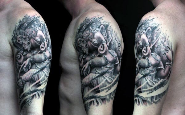Half Sleeve Masculine Ganesh Guys Tattoos