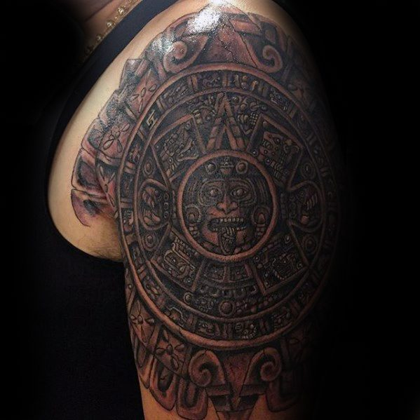 Half Sleeve Mayan Calender Tattoo Designs For Guys