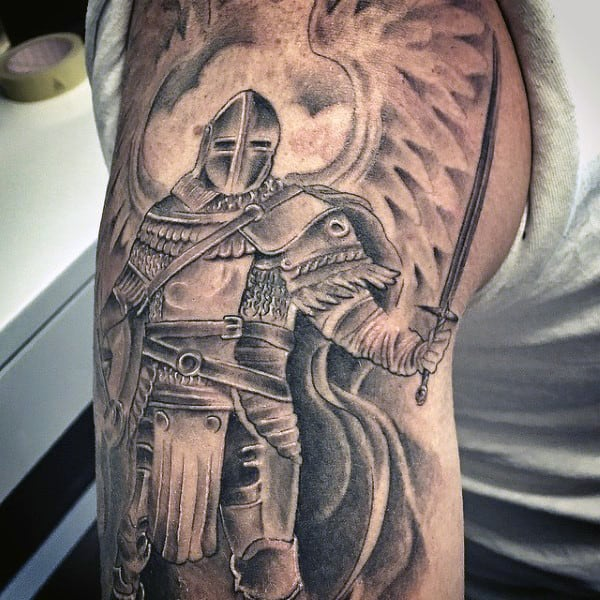 Half Sleeve Medieval Knight Tattoo For Men