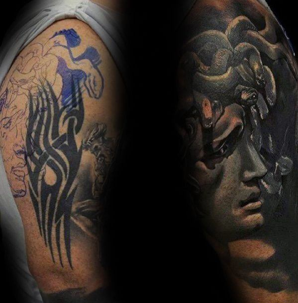 Half Sleeve Medusa 3d Cover Up Tattoos For Guys
