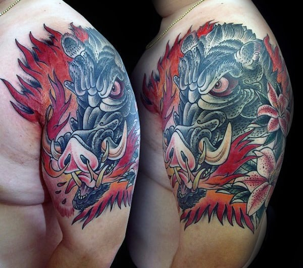 Half Sleeve Mens Angry Boat Tattoo Designs