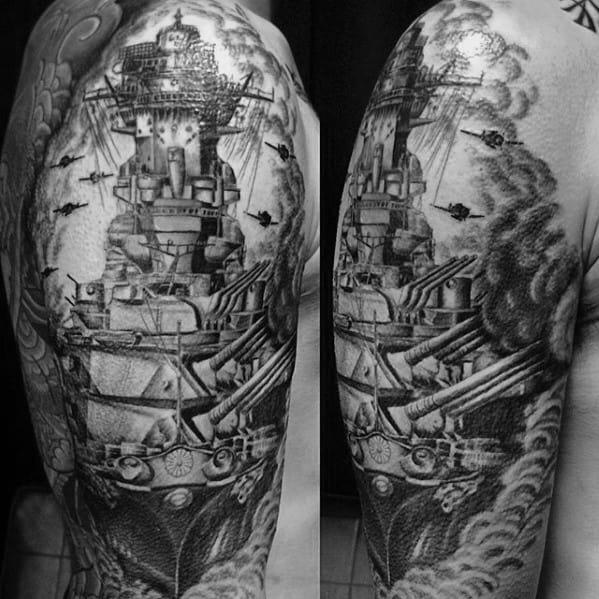 Half Sleeve Mens Battleship Tattoo Design Ideas