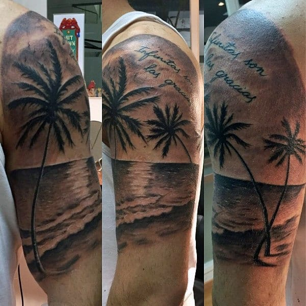 Half Sleeve Mens Beach Tattoo In Black Ink