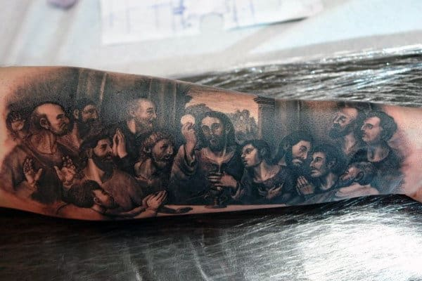 Half Sleeve Mens Black Ink Shaded Last Supper Tattoo