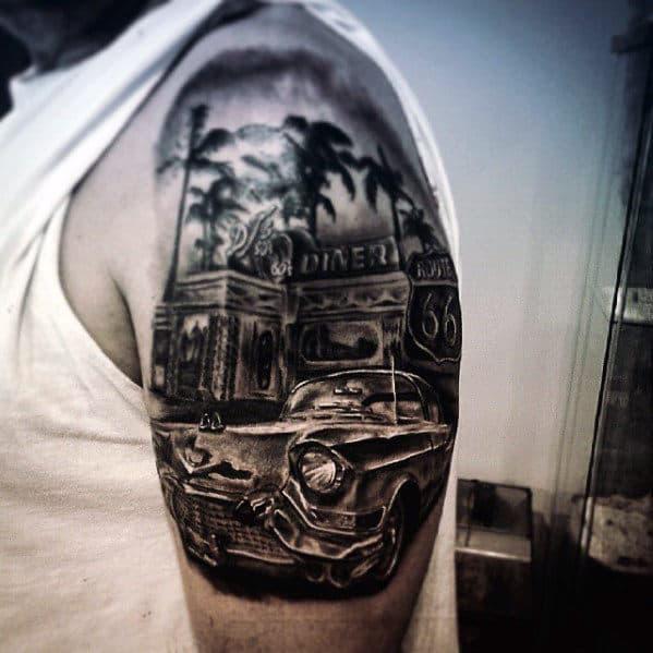 Half Sleeve Mens Classic Cadillac Car Diner Tattoo Design