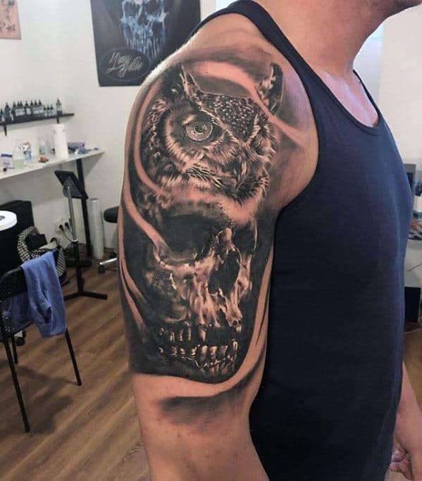 Half Sleeve Mens Cool Owl Skull Tattoo Ideas