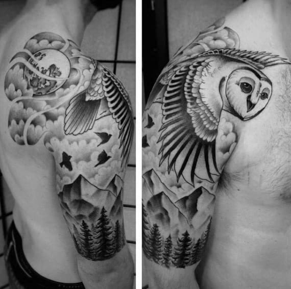 Half Sleeve Mens Flying Barn Owl Over Mountains Tattoo