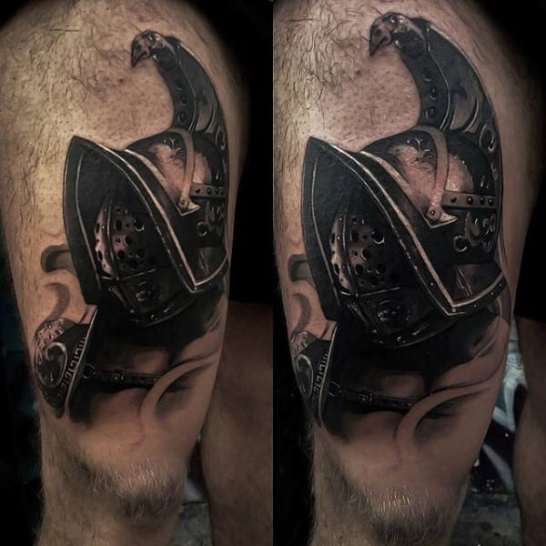 Half Sleeve Men's Gladiator Tattoo Designs