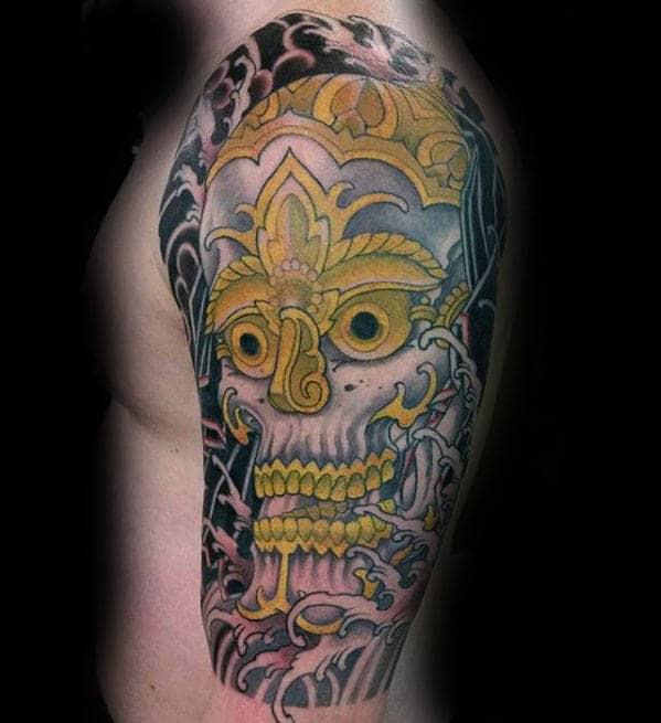 Half Sleeve Mens Gold Skull Japanese Tattoos