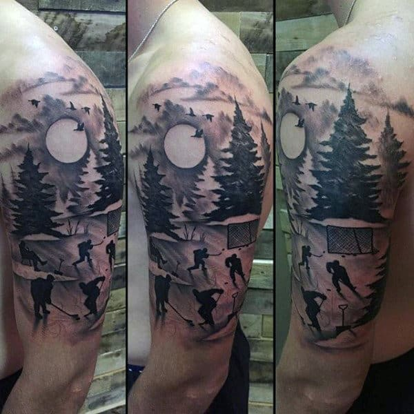 Half Sleeve Mens Hockey Scene Tattoo Design