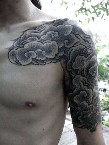 Half Sleeve Mens Japanese Cloud Tattoos