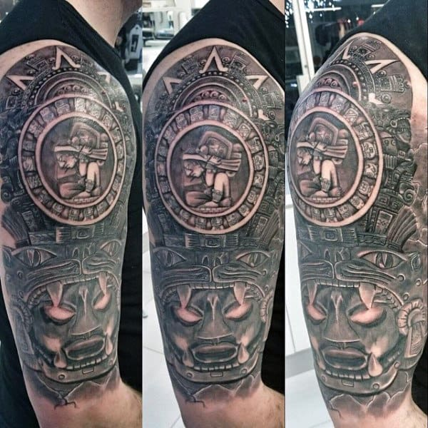 Half Sleeve Mens Mayan Themed Tattoo Design