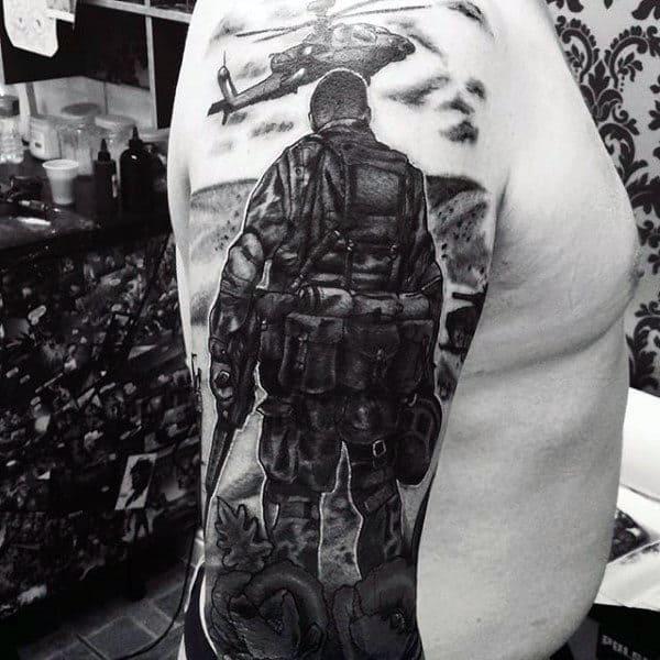 Half Sleeve Men's US Military Tattoo