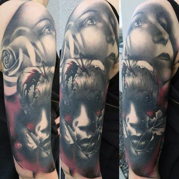 Half Sleeve Mens Portrait Apple Tattoos