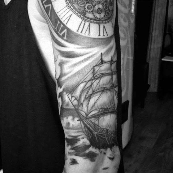 Half Sleeve Mens Sailboat Tattoo With Roman Numeral Clock