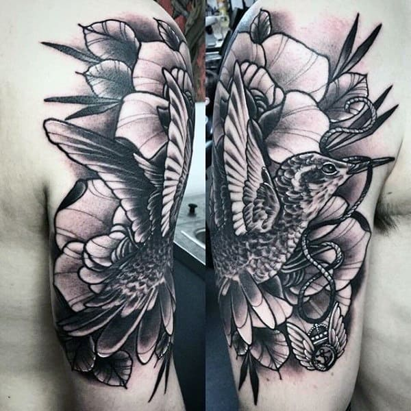 Half Sleeve Mens Shaded Black And Grey Ink Hummingbird Tattoo