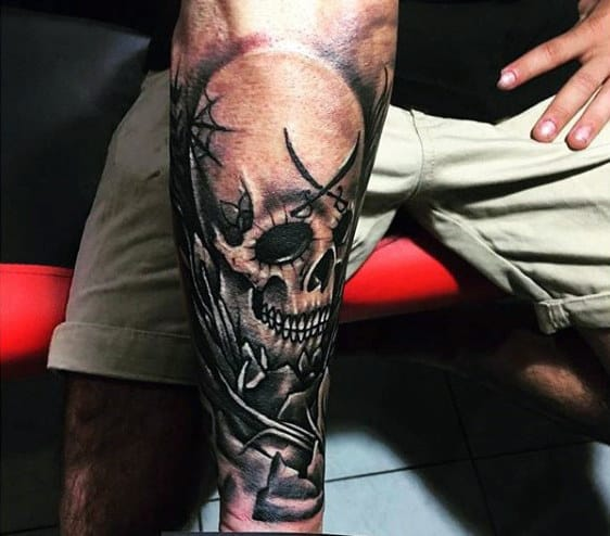 Half Sleeve Mens Skull Forearm Tattoo Designs