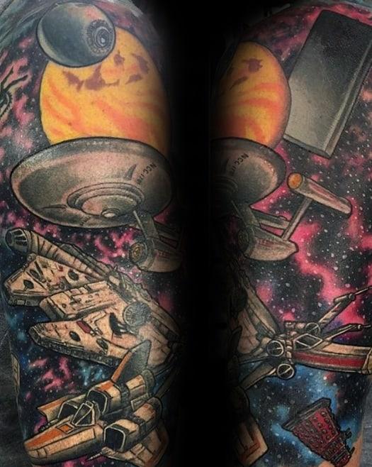 Half Sleeve Mens Star Trek Tattoo Design Ideas