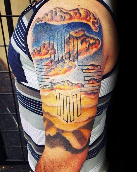 Half Sleeve Mens Zia Tattoo Design Ideas