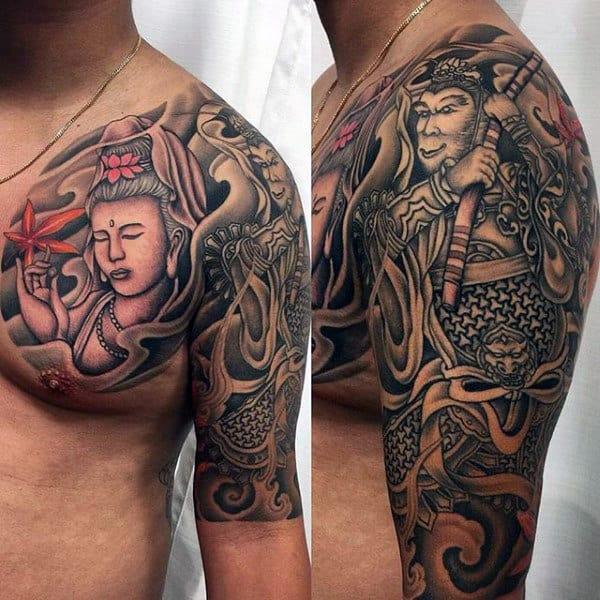 Half Sleeve Monkey King Guys Tattoo Design Inspiration