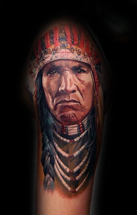 Half Sleeve Native American Indian Portrait Mens Tattoos