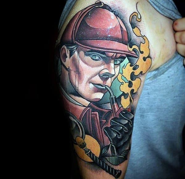 Half Sleeve Neo Traditional Sherlock Holmes Guys Tattoo Ideas