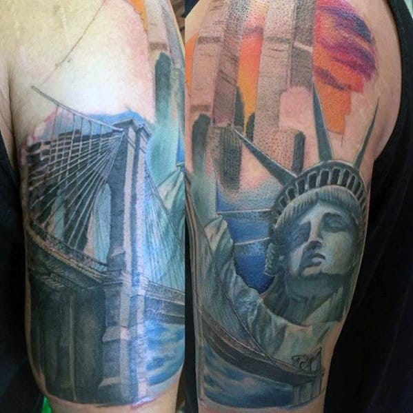 Half Sleeve New York Skyline Male Tattoo Designs