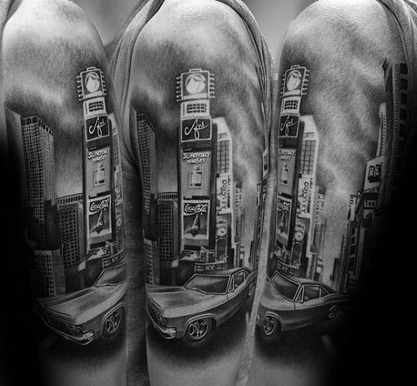 Half Sleeve New York Skyline Mens Tattoo Ideas