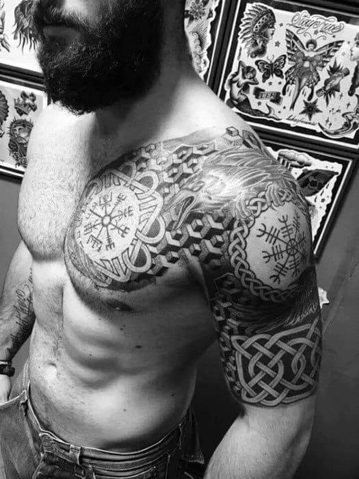 Half Sleeve Norse Helm Of Awe Mens Tattoo Ideas
