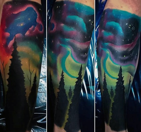 Half Sleeve Northern Lights Night Sky Tattoos For Guys