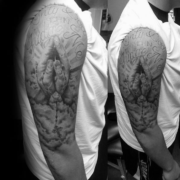 half sleeve only god can judge me mens tattoo ideas